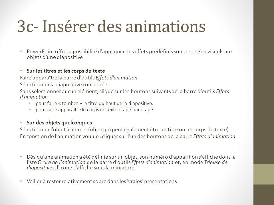3c- Insérer des animations