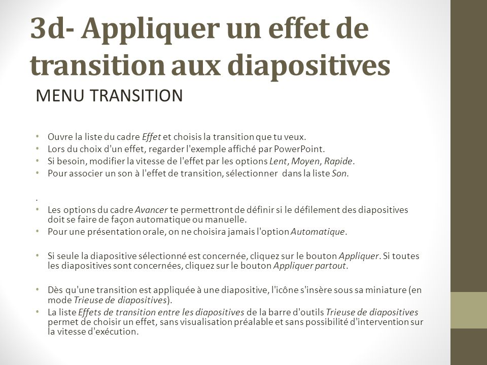 3d- Appliquer un effet de transition aux diapositives
