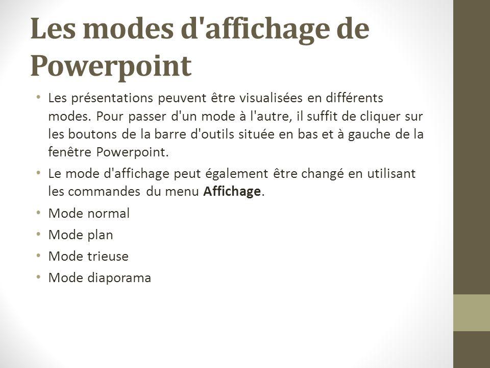 Les modes d affichage de Powerpoint