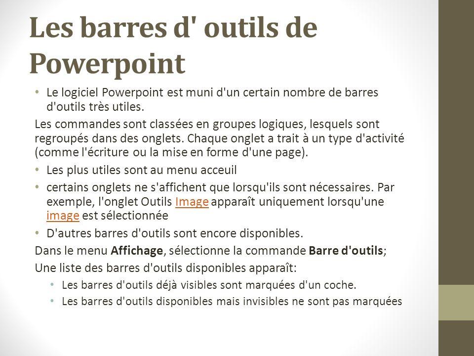 Les barres d outils de Powerpoint
