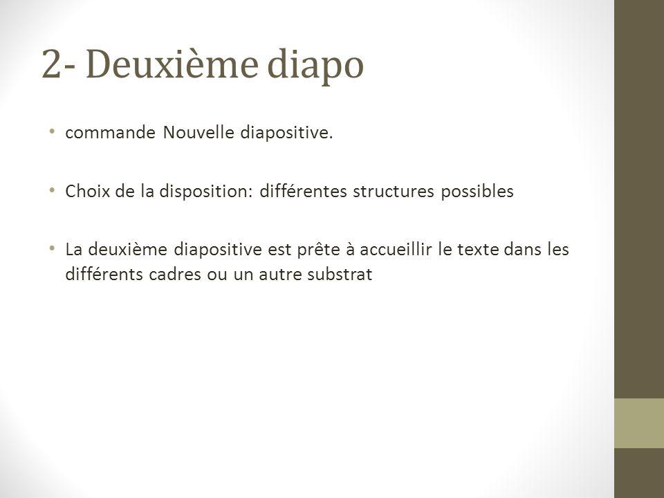 2- Deuxième diapo commande Nouvelle diapositive.