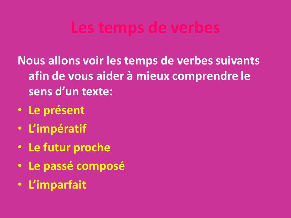 Les temps de verbes Nous allons voir les temps de verbes suivants afin de vous aider à mieux comprendre le sens d'un texte: