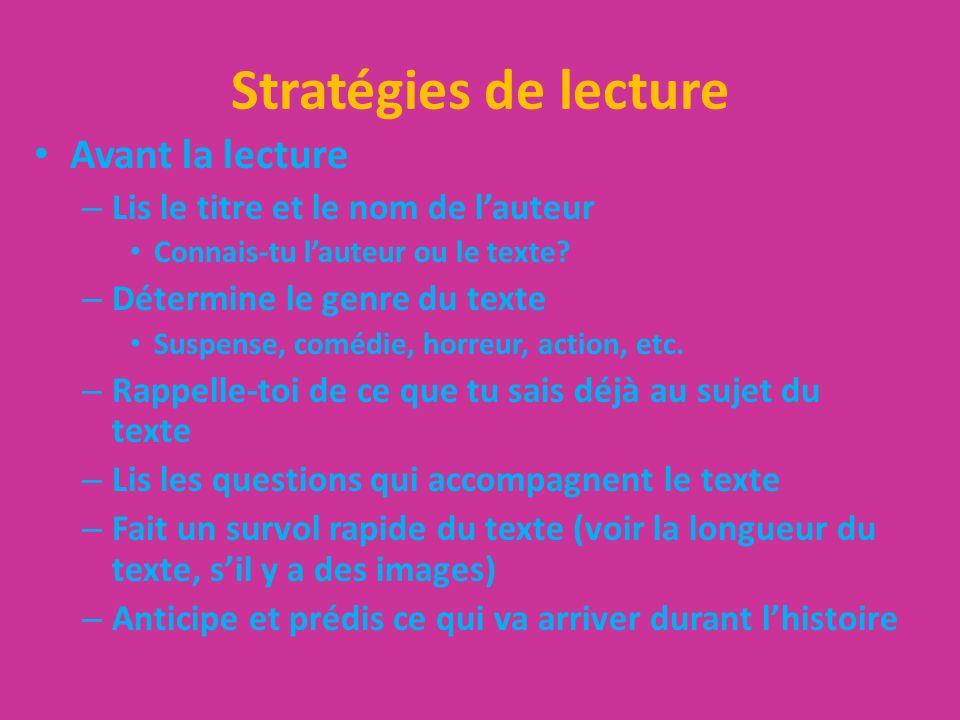Stratégies de lecture Avant la lecture