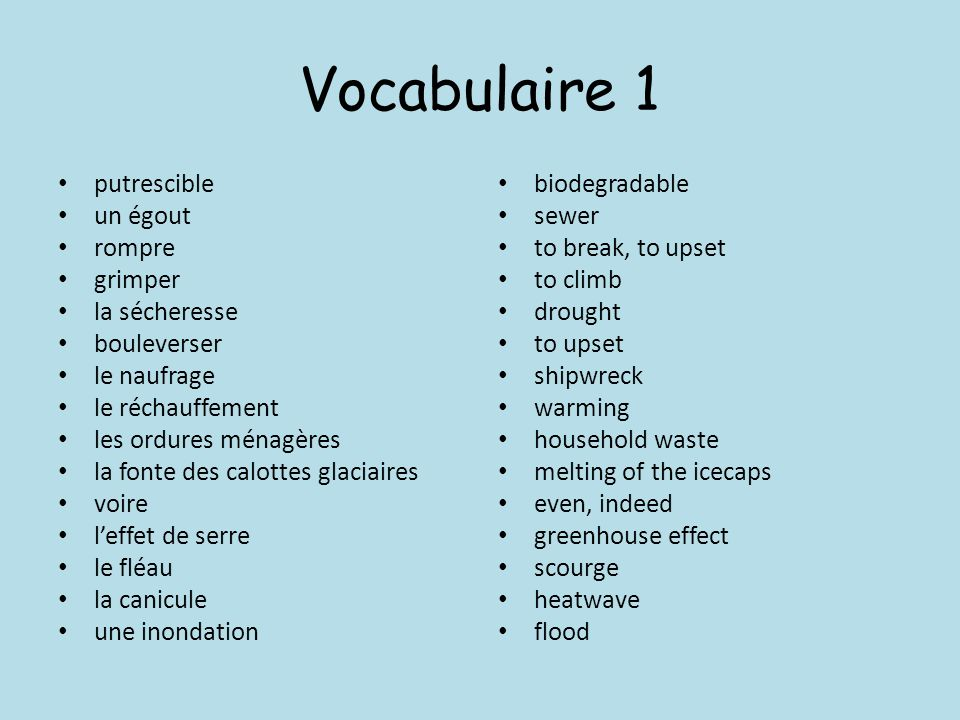 Vocabulaire 1 putrescible un égout rompre grimper la sécheresse