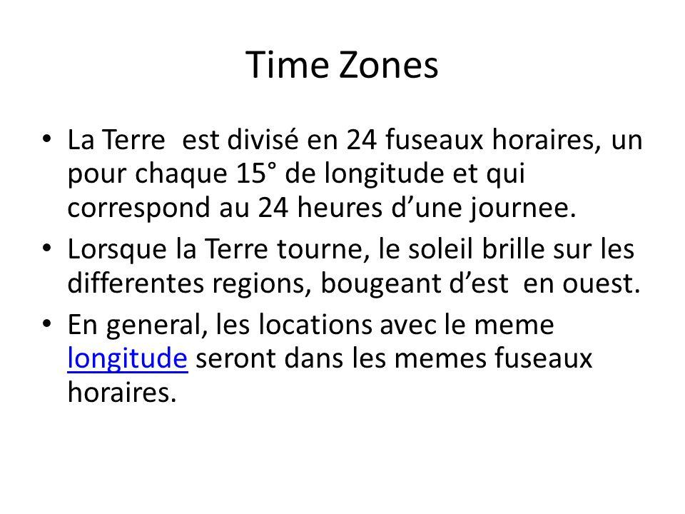 Time Zones La Terre est divisé en 24 fuseaux horaires, un pour chaque 15° de longitude et qui correspond au 24 heures d'une journee.