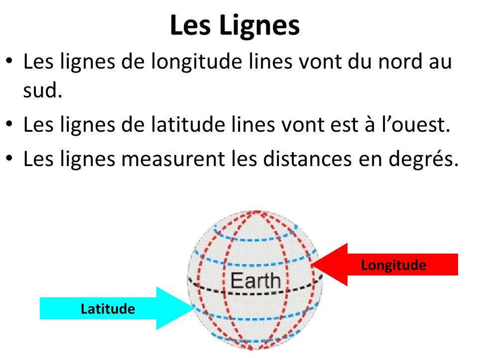 Les Lignes Les lignes de longitude lines vont du nord au sud.