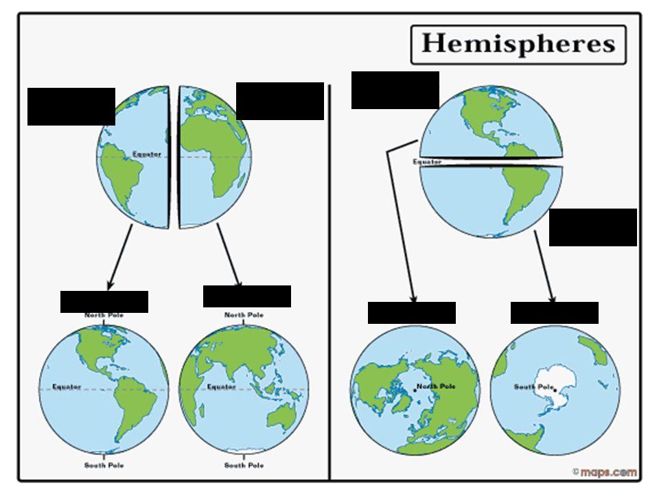 L'hémisphere du nord L'hémisphere orientale. L'hémisphere occidentale. L'hémisphere du sud. orientale.