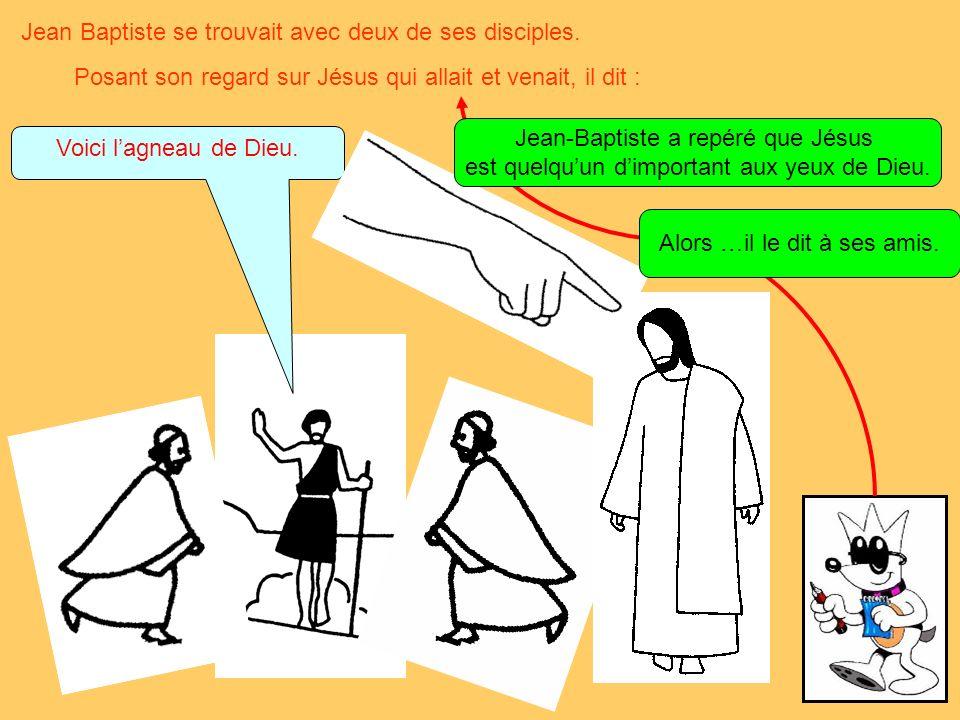 Jean Baptiste se trouvait avec deux de ses disciples.