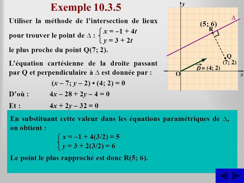Exemple 10.3.5 Utiliser la méthode de l'intersection de lieux pour trouver le point de ∆ : (5; 6) x = –1 + 4t.