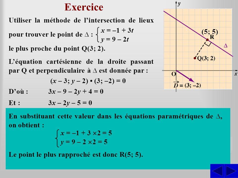 Exercice Utiliser la méthode de l'intersection de lieux pour trouver le point de ∆ : x = –1 + 3t. y = 9 – 2t.