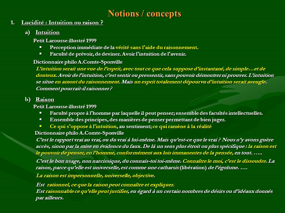 Notions / concepts Lucidité : Intuition ou raison Intuition Raison