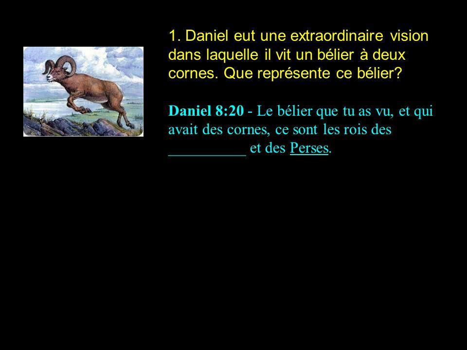1. Daniel eut une extraordinaire vision dans laquelle il vit un bélier à deux cornes. Que représente ce bélier