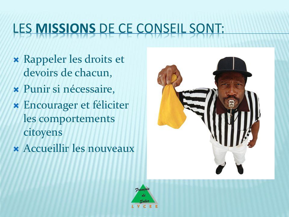 Les missions de ce conseil sont: