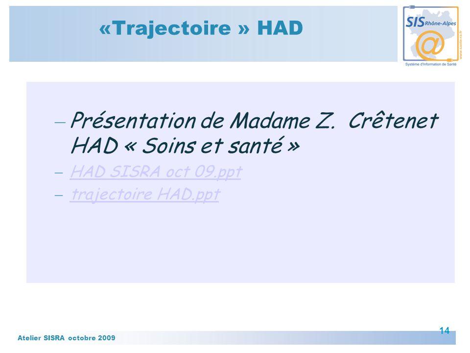 Présentation de Madame Z. Crêtenet HAD « Soins et santé »
