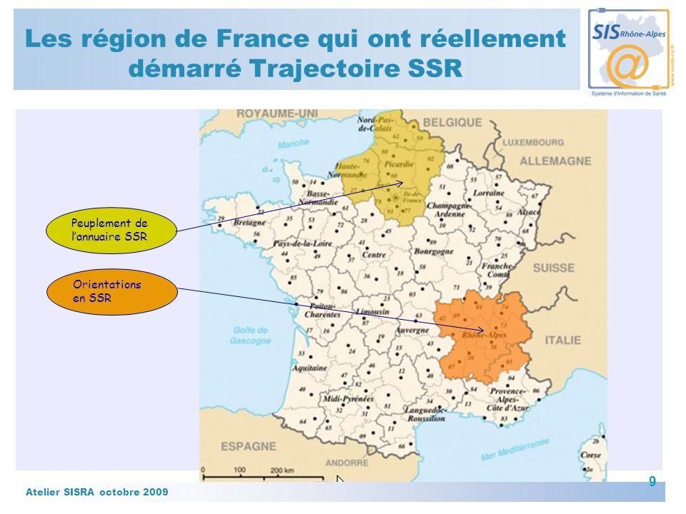 Les région de France qui ont réellement démarré Trajectoire SSR