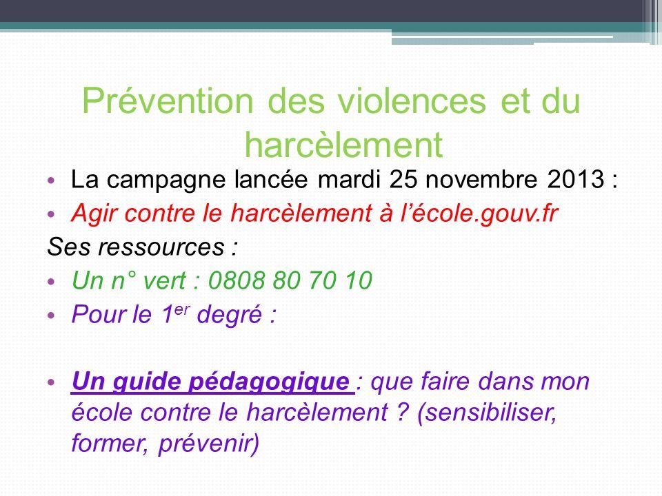 Prévention des violences et du harcèlement