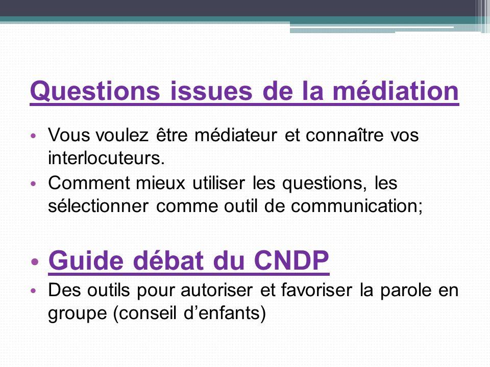 Questions issues de la médiation