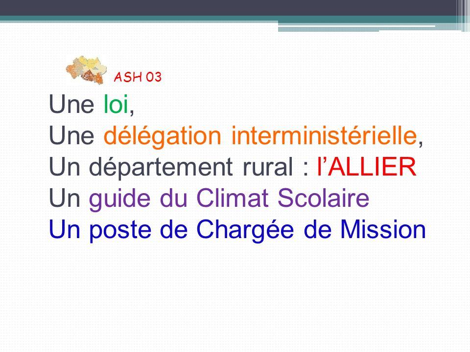 ASH 03 Une loi, Une délégation interministérielle, Un département rural : l'ALLIER Un guide du Climat Scolaire Un poste de Chargée de Mission