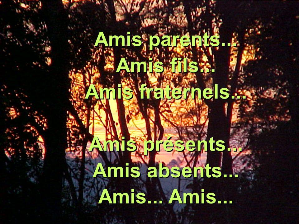 Amis parents... Amis fils... Amis fraternels... Amis présents... Amis absents... Amis... Amis...