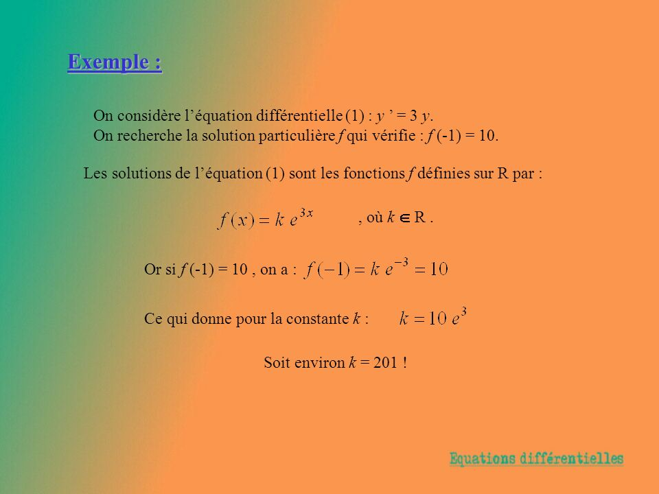 Exemple : On considère l'équation différentielle (1) : y ' = 3 y.
