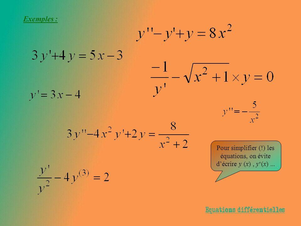 Exemples : Pour simplifier (!) les équations, on évite