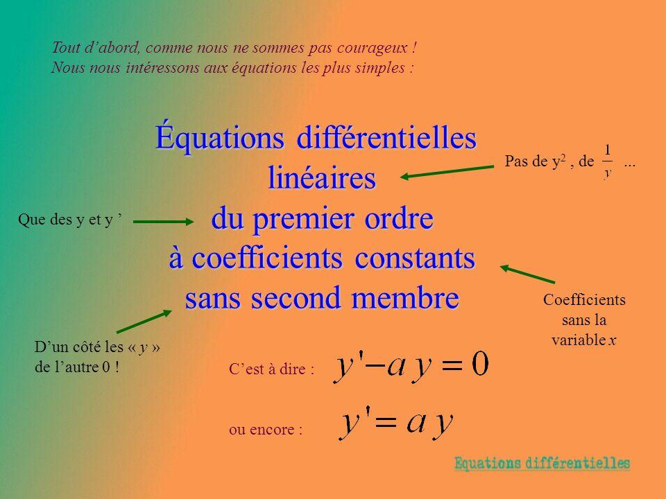 Équations différentielles linéaires du premier ordre