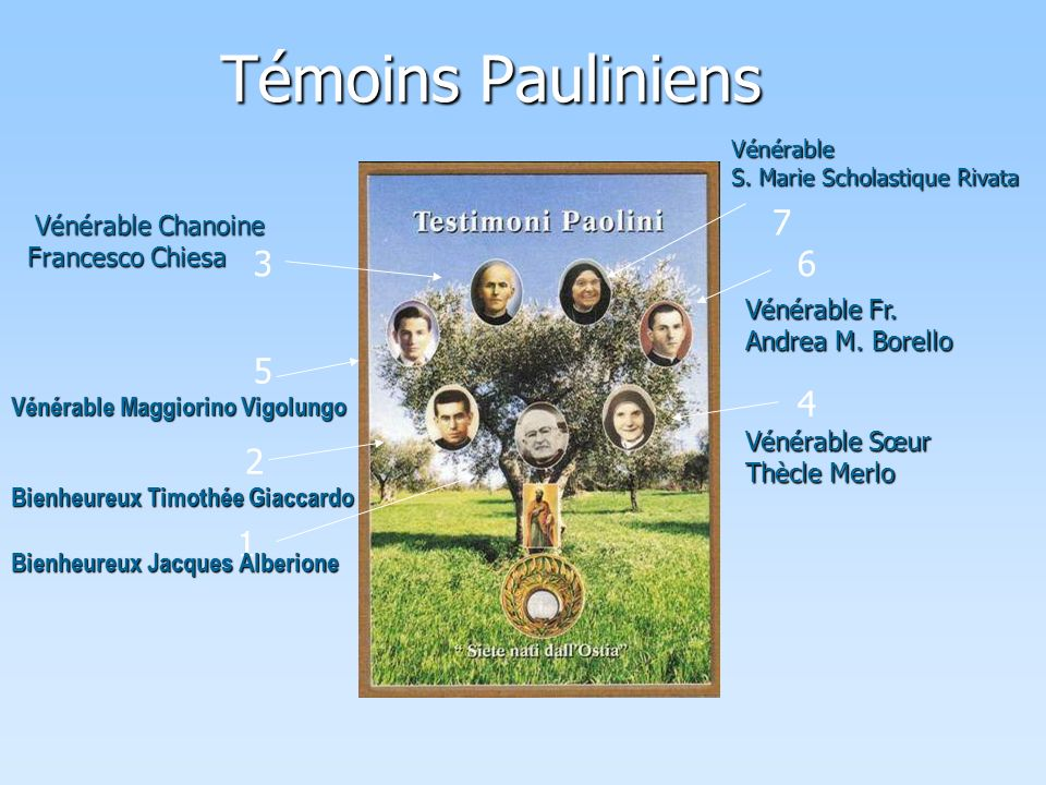 Témoins Pauliniens 7 3 6 5 4 2 1 Vénérable Chanoine Francesco Chiesa