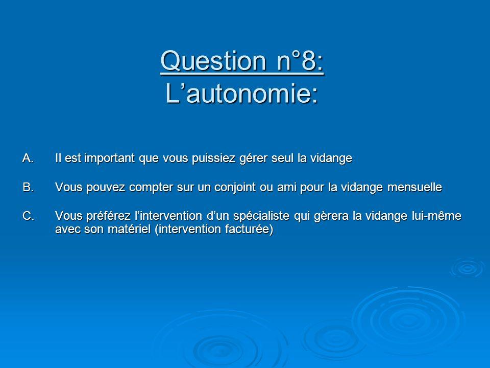 Question n°8: L'autonomie: