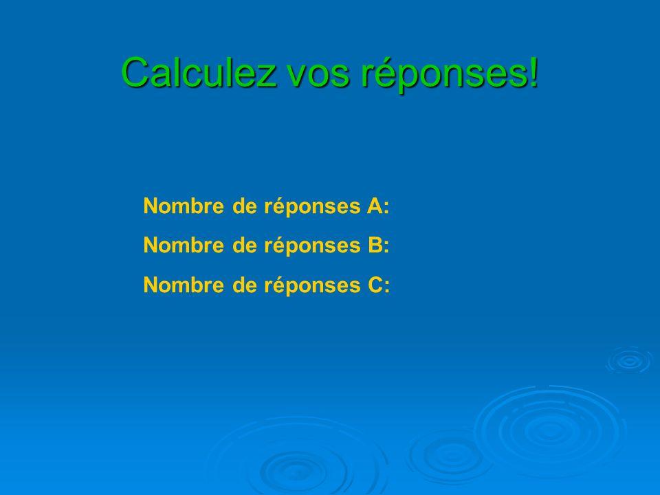 Calculez vos réponses! Nombre de réponses A: Nombre de réponses B: