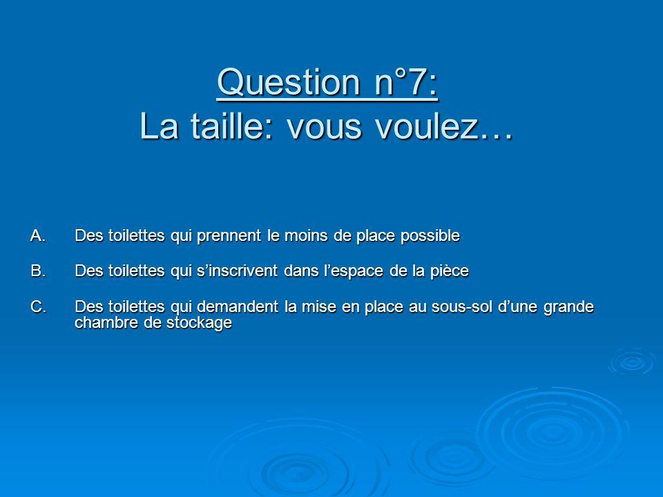 Question n°7: La taille: vous voulez…