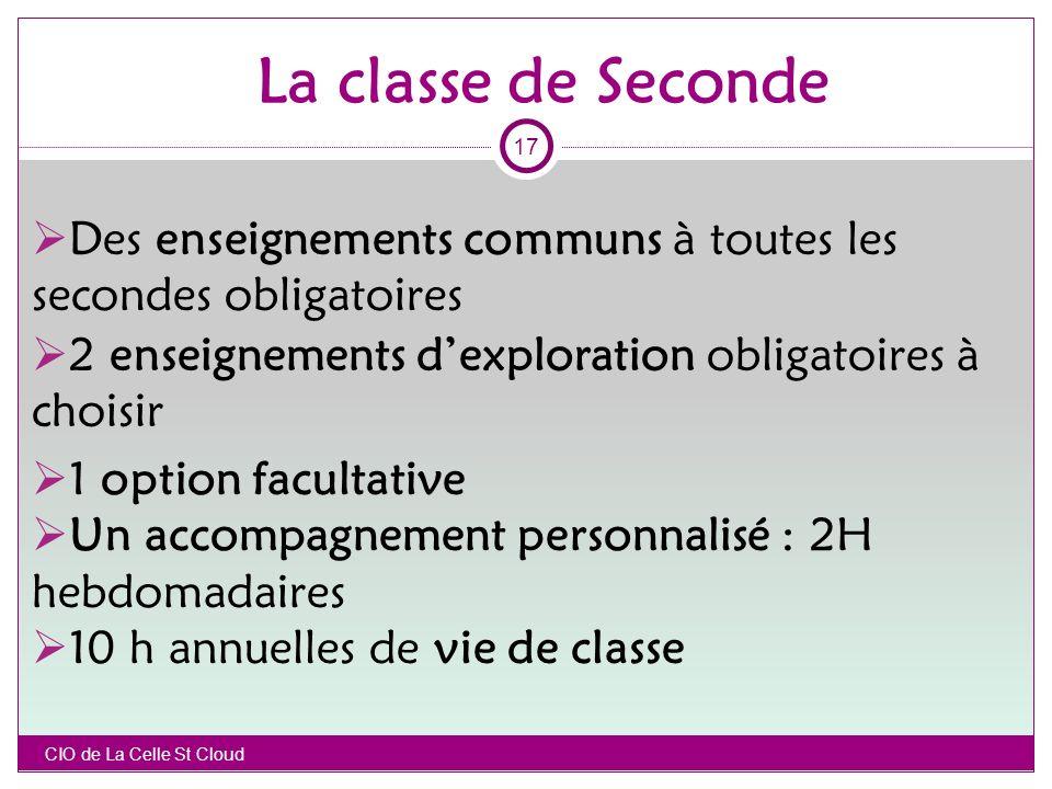 La classe de Seconde 17. Des enseignements communs à toutes les secondes obligatoires. 2 enseignements d'exploration obligatoires à choisir.