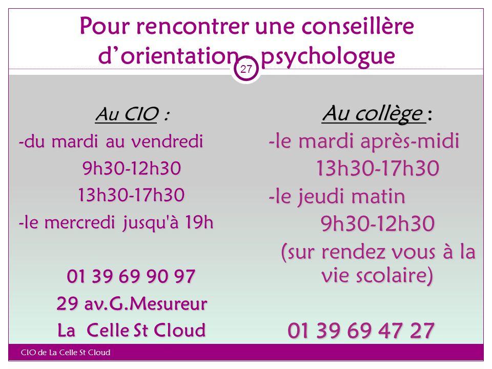 Pour rencontrer une conseillère d'orientation - psychologue