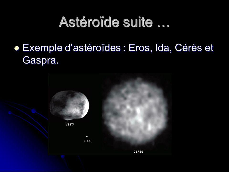 Astéroïde suite … Exemple d'astéroïdes : Eros, Ida, Cérès et Gaspra.