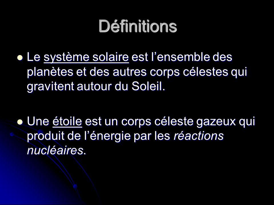 Définitions Le système solaire est l'ensemble des planètes et des autres corps célestes qui gravitent autour du Soleil.