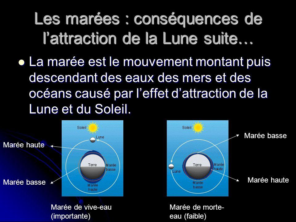 Les marées : conséquences de l'attraction de la Lune suite…