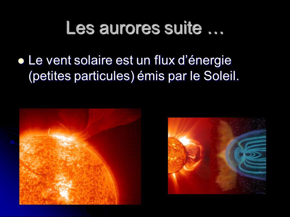 Les aurores suite … Le vent solaire est un flux d'énergie (petites particules) émis par le Soleil.