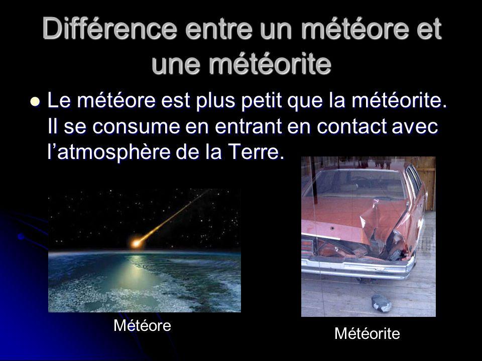 Différence entre un météore et une météorite