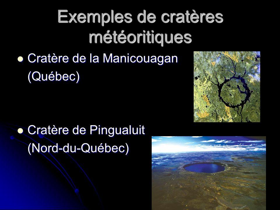 Exemples de cratères météoritiques