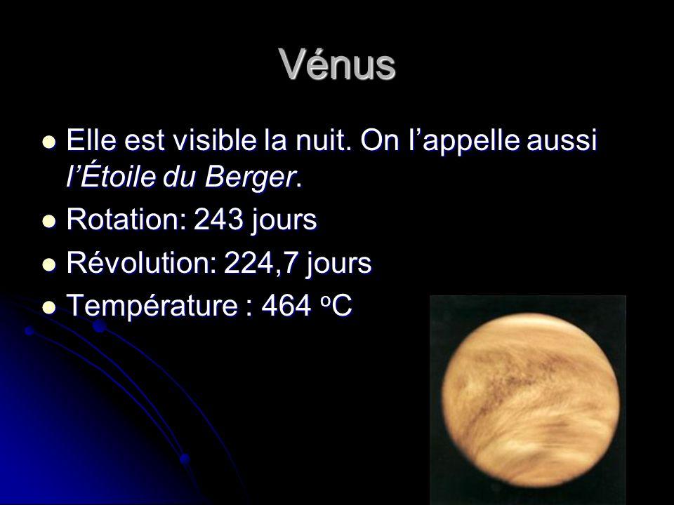 Vénus Elle est visible la nuit. On l'appelle aussi l'Étoile du Berger.