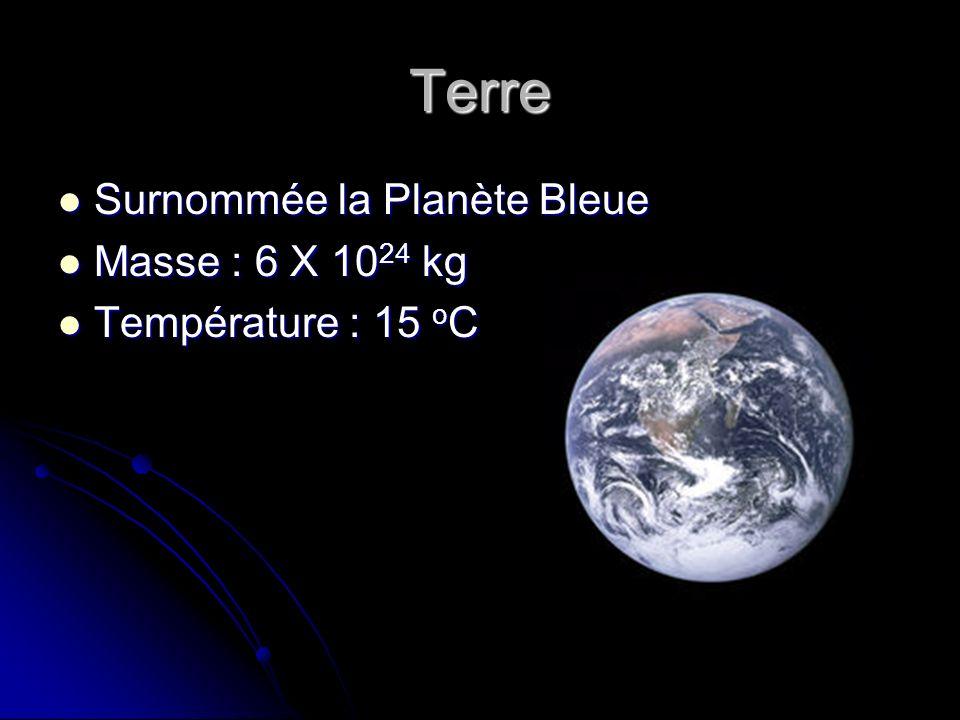 Terre Surnommée la Planète Bleue Masse : 6 X 1024 kg