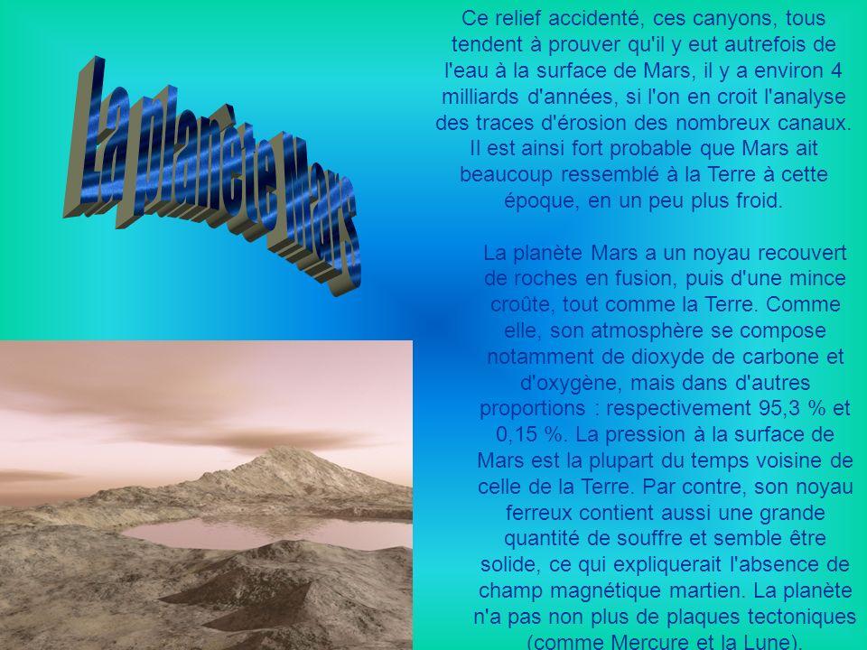 Ce relief accidenté, ces canyons, tous tendent à prouver qu il y eut autrefois de l eau à la surface de Mars, il y a environ 4 milliards d années, si l on en croit l analyse des traces d érosion des nombreux canaux. Il est ainsi fort probable que Mars ait beaucoup ressemblé à la Terre à cette époque, en un peu plus froid.