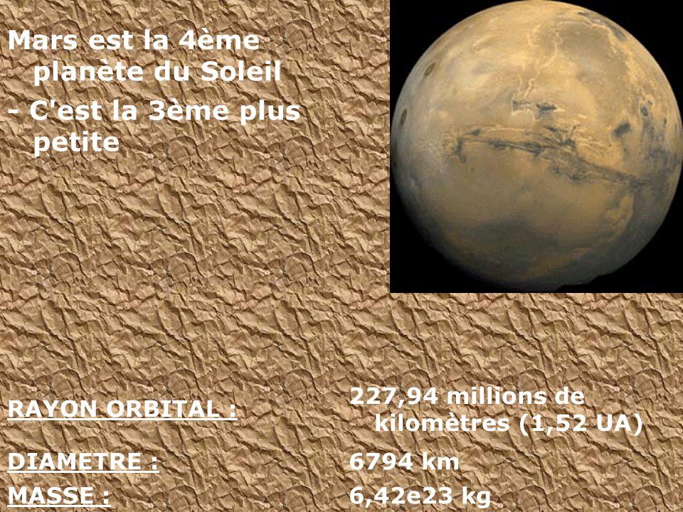 Mars est la 4ème planète du Soleil - C est la 3ème plus petite