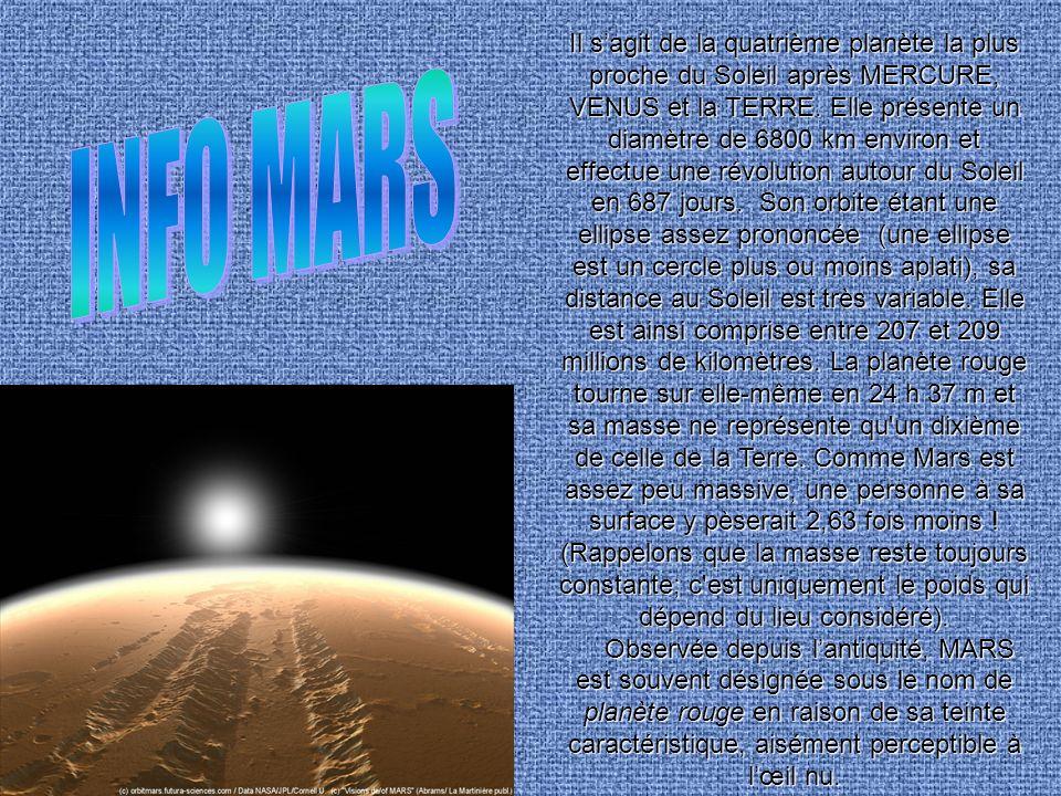 Il s'agit de la quatrième planète la plus proche du Soleil après MERCURE, VENUS et la TERRE. Elle présente un diamètre de 6800 km environ et effectue une révolution autour du Soleil en 687 jours. Son orbite étant une ellipse assez prononcée (une ellipse est un cercle plus ou moins aplati), sa distance au Soleil est très variable. Elle est ainsi comprise entre 207 et 209 millions de kilomètres. La planète rouge tourne sur elle-même en 24 h 37 m et sa masse ne représente qu un dixième de celle de la Terre. Comme Mars est assez peu massive, une personne à sa surface y pèserait 2,63 fois moins ! (Rappelons que la masse reste toujours constante; c est uniquement le poids qui dépend du lieu considéré).