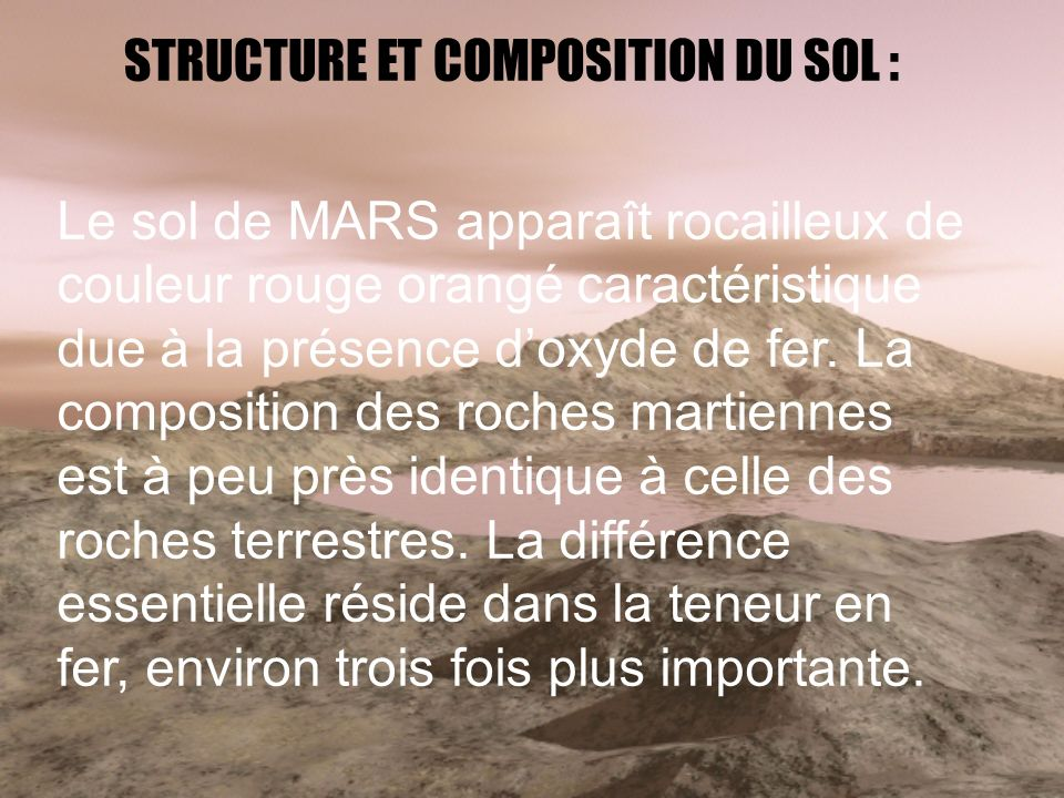 STRUCTURE ET COMPOSITION DU SOL :