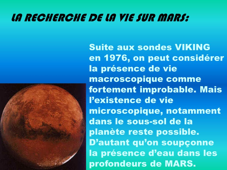 LA RECHERCHE DE LA VIE SUR MARS: