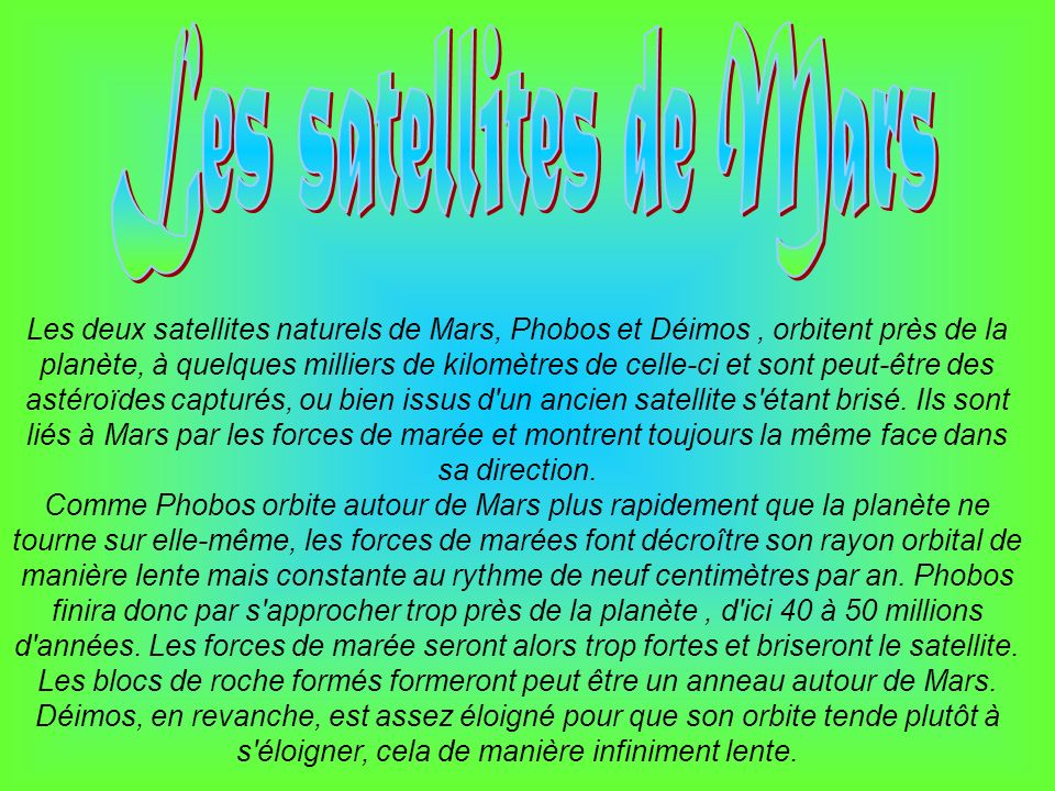 Les satellites de Mars