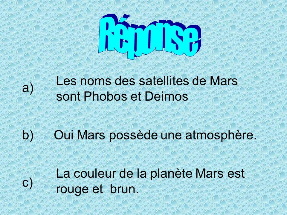 Réponse Les noms des satellites de Mars sont Phobos et Deimos a) b)