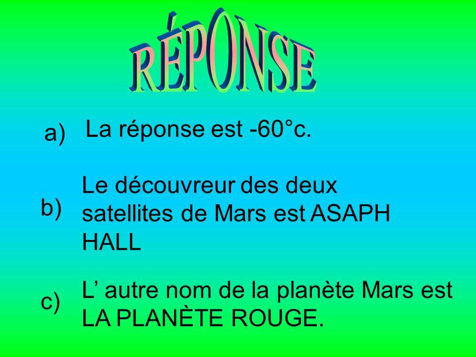 RÉPONSE La réponse est -60°c. a) Le découvreur des deux satellites de Mars est ASAPH HALL. b)