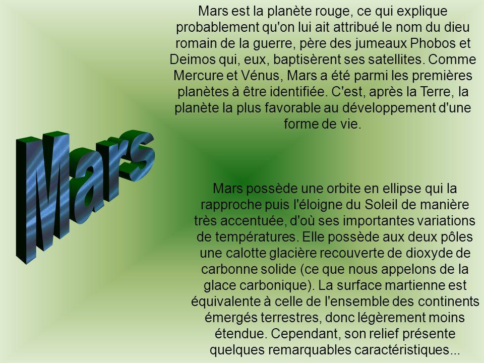 Mars est la planète rouge, ce qui explique probablement qu on lui ait attribué le nom du dieu romain de la guerre, père des jumeaux Phobos et Deimos qui, eux, baptisèrent ses satellites. Comme Mercure et Vénus, Mars a été parmi les premières planètes à être identifiée. C est, après la Terre, la planète la plus favorable au développement d une forme de vie.