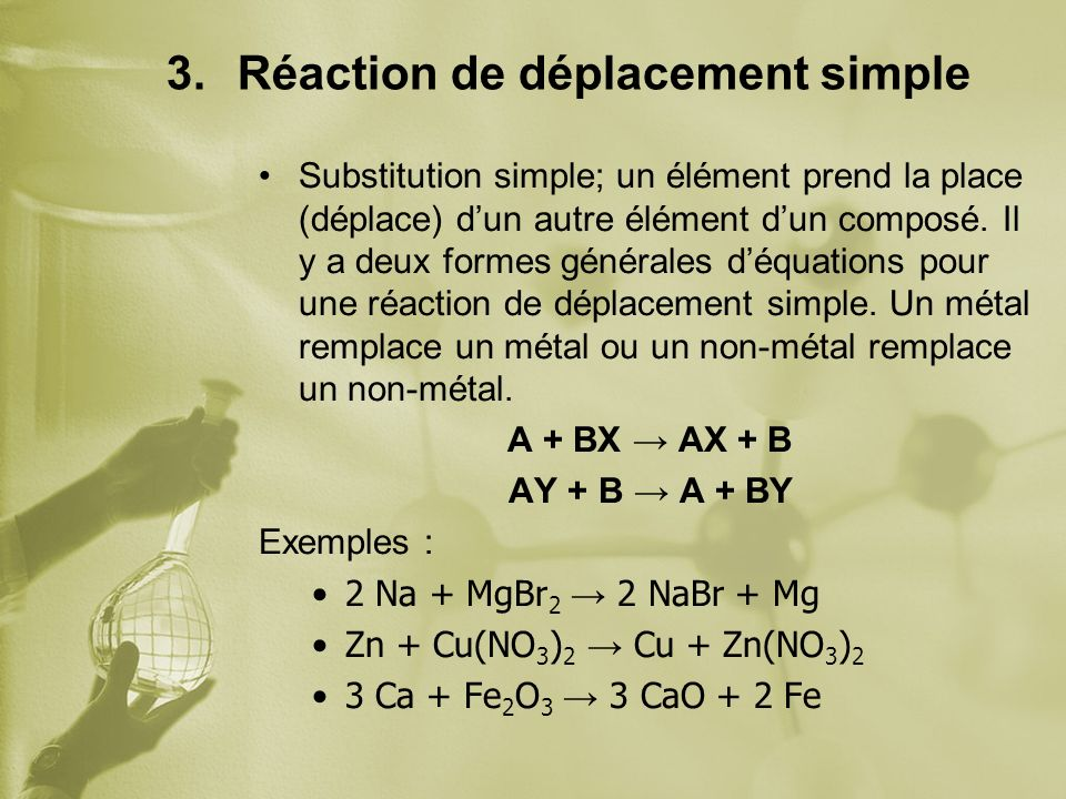 Réaction de déplacement simple